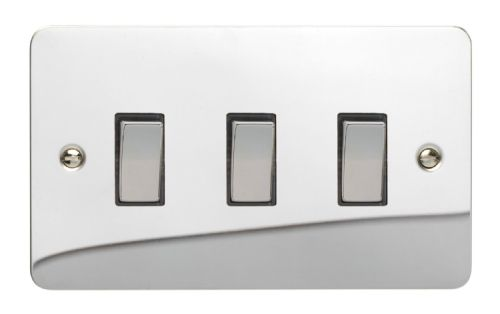 Varilight XFC93D Ultraflat Polished Chrome 3 Gang 10A 1 or 2 Way Rocker Light Switch (Twin Plate)